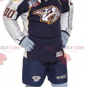 Maskot modrý bílý a oranžový tygr ve sportovním oblečení -