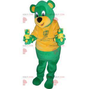 Obří zelený a žlutý medvídek maskot - Redbrokoly.com