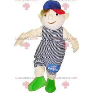 Mały chłopiec maskotka ubrany w strój w paski - Redbrokoly.com