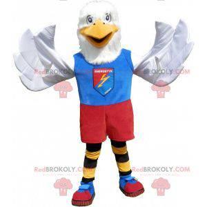 White eagle mascot in colorful sportswear - Redbrokoly.com