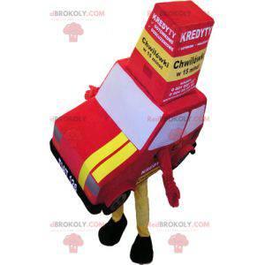 Riesiges rotes und gelbes Automaskottchen. Fahrzeugmaskottchen