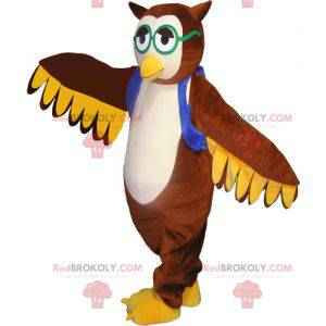 Brown owl mascot with a vest and glasses - Redbrokoly.com