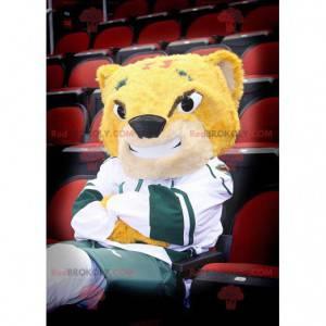 Maskot žlutý tygr a usmívá se na sportovní oblečení -