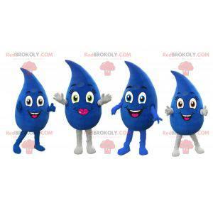 4 obří modré kapky vody maskoti 2 chlapci a dívku -