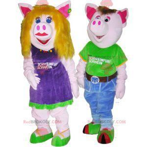 2 prase maskoti chlapec a dívka. Pár kostým - Redbrokoly.com