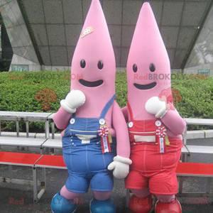 2 mascotes estrela do mar rosa vestidos de macacão -