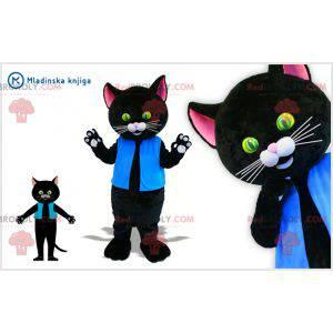 Černá a růžová kočka maskot oblečený v modré barvě -