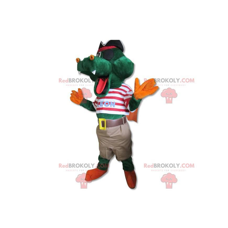 Słodki krokodyl maskotka ubrany w strój pirata - Redbrokoly.com