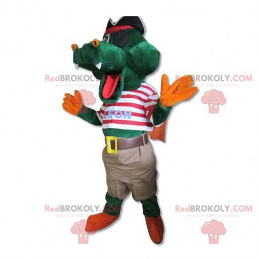 Maskottchen niedliches Krokodil gekleidet in Piratenkostüm -