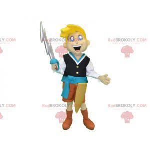 Blonďatý rytíř chlapec maskot s mečem - Redbrokoly.com