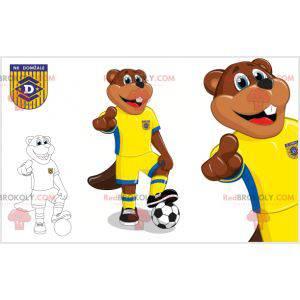 Maskot hnědý bobr ve žlutém a modrém sportovním oblečení -