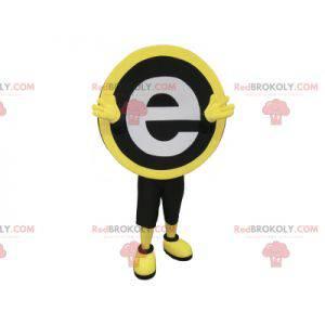 Rundes schwarzes gelbes und weißes Maskottchen mit dem