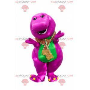 Pulchna i zabawna różowo-zielona maskotka dinozaura -