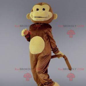 Brązowa i beżowa małpa maskotka. Kostium szympansa -
