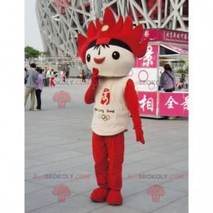 Schwarzes, weißes und rotes Maskottchen der Olympischen Spiele