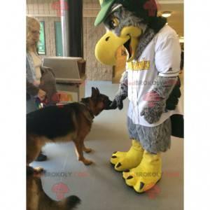 Szaro-żółta maskotka orła cała włochata - Redbrokoly.com