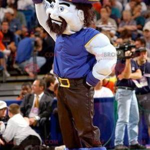 Muscular pirate man mascot in blue and black outfit -