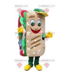Mascot gigantisk sandwich med brød og rå grønnsaker -