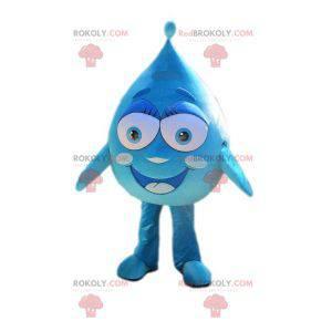 Gigantyczna i uśmiechnięta niebieska maskotka kropla -