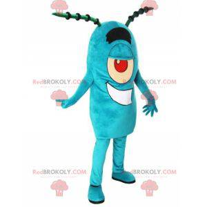 Maskot Plankton slavná modrá postava v SpongeBob SquarePants -