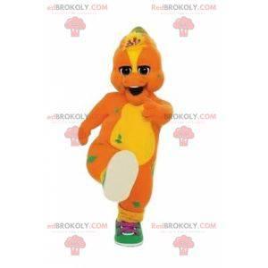Orange und gelbes Dinosaurier-Maskottchen mit Turnschuhen -