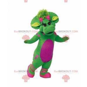 Giant and elegant green and pink dinosaur mascot -