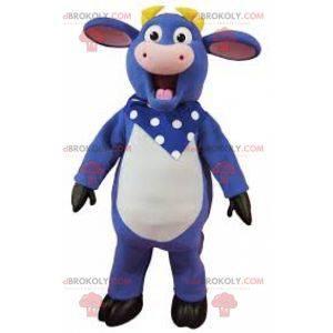 Maskot modrá bílá a růžová kráva s čelenkou - Redbrokoly.com