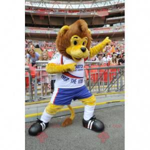 Brązowy i żółty lew maskotka w odzieży sportowej -