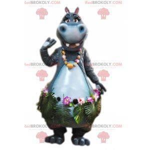 Mascot grijs nijlpaard met een exotische rok - Redbrokoly.com