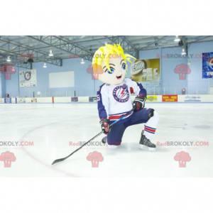 Blond boy mascot with blue eyes in hockey gear - Redbrokoly.com