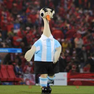 Beige ostrich mascot in sportswear - Redbrokoly.com