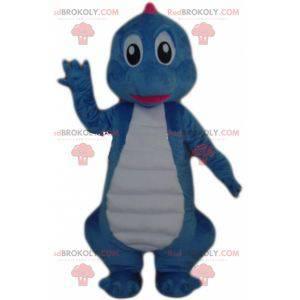 Riesiges blaues und weißes Dinosauriermaskottchen -