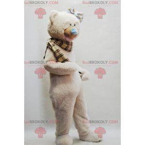 Béžový maskot medvídka s kostkovaným šátkem - Redbrokoly.com