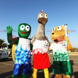 3 mascots a green turtle a gray ostrich and a dog -
