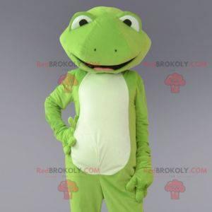 Zelená a bílá žába maskot. Žabí kostým - Redbrokoly.com