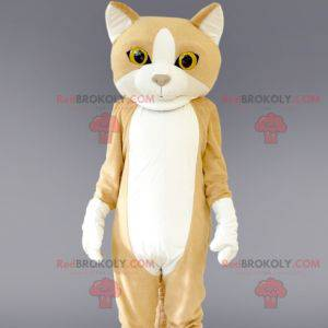Gigantisk beige og hvit kattemaskot. Kattedrakt - Redbrokoly.com