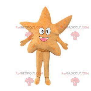 Mooie en glimlachende beige zeester mascotte - Redbrokoly.com