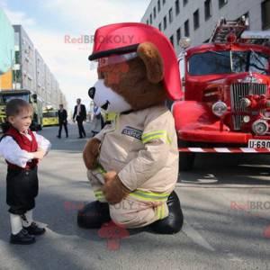 Velký hnědý medvídek maskot v hasičské uniformě - Redbrokoly.com