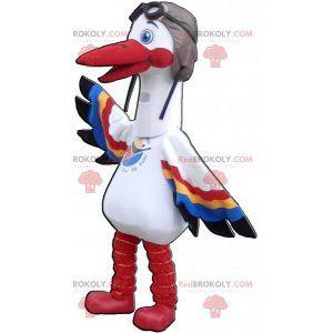 White stork mascot with multicolored wings - Redbrokoly.com