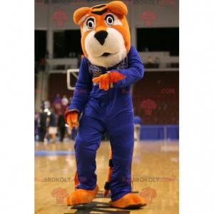 Oranžový a bílý tygr maskot v modrém oblečení - Redbrokoly.com