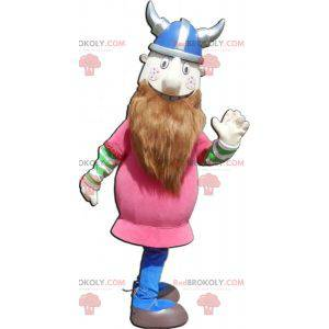 Vousatý maskot Vikingů, oblečený do růžova s přilbou -