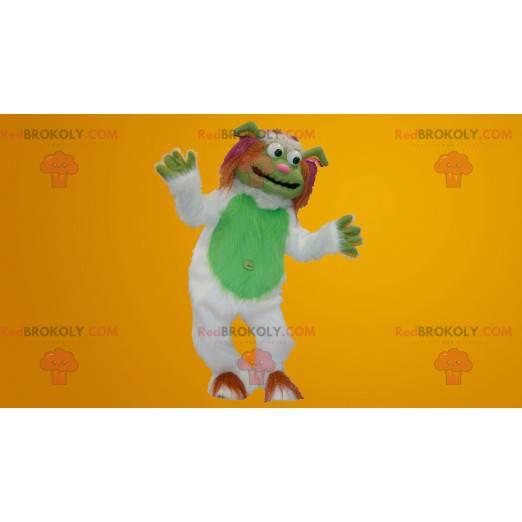 Hvit og grønn yeti-maskot, alle hårete - Redbrokoly.com