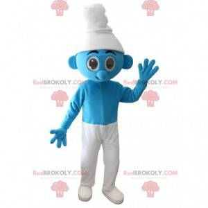 Blaues und weißes Schlumpfmaskottchen - Redbrokoly.com