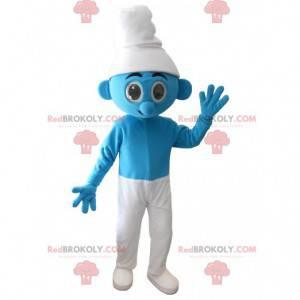 Blauw en wit Smurf mascotte - Redbrokoly.com