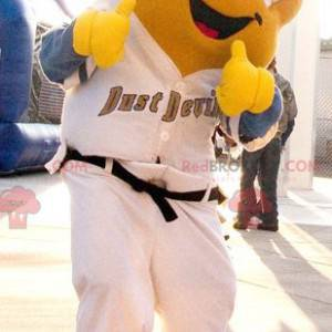Yellow fish mascot in white outfit - Redbrokoly.com