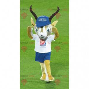 Yellow and white gazelle mascot in blue and white outfit -