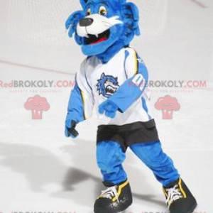 Maskot modrá a bílá kočka ve sportovním oblečení -