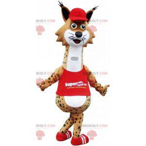Mascot brown and white spotted lynx dressed in red -