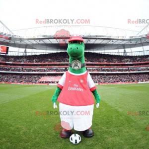 Grønn dinosaur maskot i rødt og hvitt antrekk - Redbrokoly.com