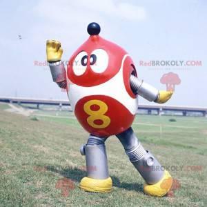 Robot mascotte rosso bianco e grigio metallizzato -